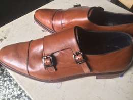 brown new leather monkstraps or brogues
