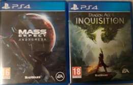 PS4 games Mass Effect and Dragon Age Inquisition for trade or sale