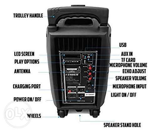 "Trolly Karaoke multimedia Speakers 8"" with wireless microphone شويفات -  5"