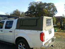 Canvas canopy with light frame (50 mm pipe) for navara dbl cab