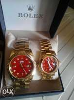 Rolex Couple Gold Wristwatch -red dial