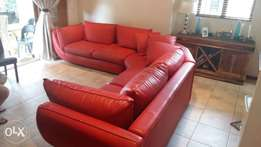 2 year old Red Leather Couches