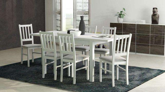 Zestaw Do Jadalni Biały Stół Rozkładany 6 Krzeseł Szybka Dostawa