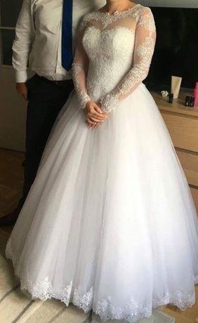 fa72914f5f Suknia ślubna księżniczka piękna koronka długi rękaw Marki - image 2