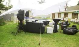 Stretch Tent for hire from R900. Also Marquees, frame tents, gazebos