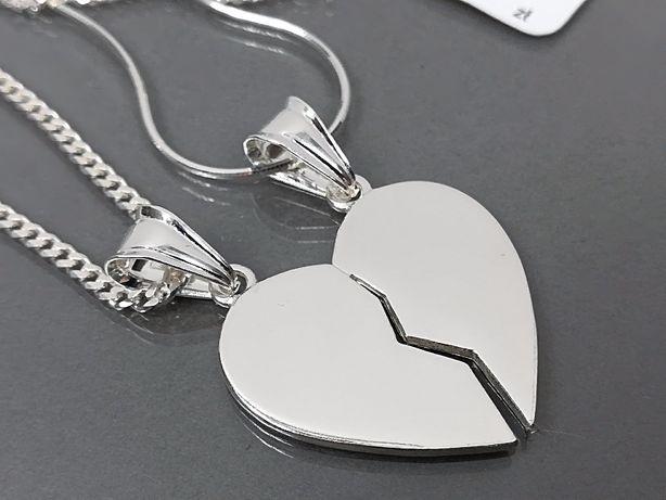 4ac1ac0223ec4b Srebrne serce łamane dla dwojga + 2 łańcuszki . Grawer gratis !!! Olkusz -