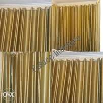 Golden curtains with sheers