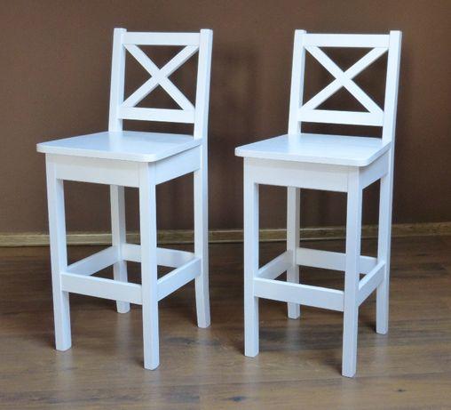 Krzesło Barowe Drewniane X Biały Wysokie 60 I 63cm Białe