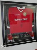 RARE Replica 1999 UEFA CHAMPIONS LEAGUE FINAL Shirt signed by 2 heroes