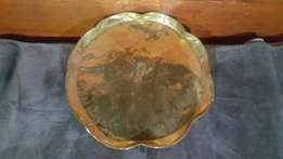 Old large brass tray