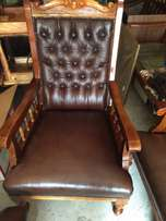 carved rosewood and buffalo leather lounge set