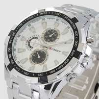 h sliver w white stainless curren watch