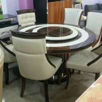 Executive round marble dining for 6 setter