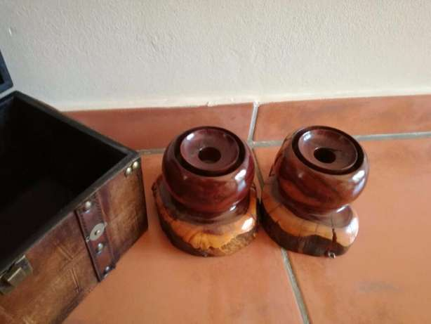 2 Heavy Wooden Candle Holders (Very Sturdy) Great Condition In Holder! Kempton Park - image 6