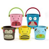 HOP Zoo Stack & Pour Buckets, Set of 5, Ages 9m+ Bath Rinse*Toy NEW Un