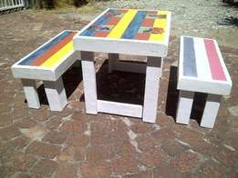 Outdoor benches & tables for hip kidz!