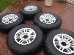 5xHummer mags 16inch with tyres,6hole,139PCD, Goodyear WranglerRTS
