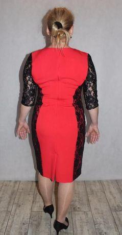 b9f98207b6b2b7 śliczna czerwona sukienka koronka r.42 pr.polski Kuźnia Raciborska - image 2