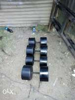 Concrete dumbbells..