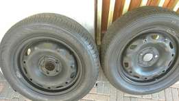 X2,14 inch rims and tyres Pcd 5/100