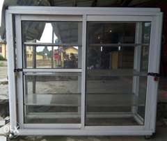 White aluminum show glass