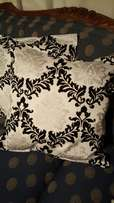 Damask patterned cushion covers
