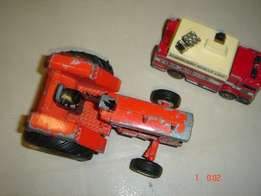 Vintage collectible Matchbox Fire Truck and a Tractor -Allis Chalmers