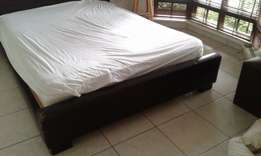 Queen leather base with mattress for sale