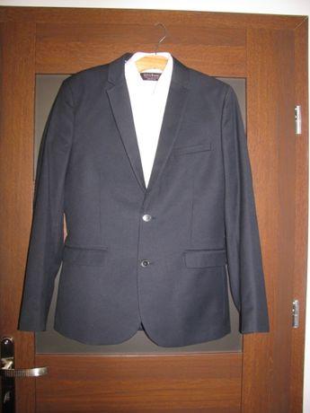 dc5e2f4e88a45 Granatowy garnitur H&M Slim Fit z wełną r.48 st.idealny 40% ceny ...