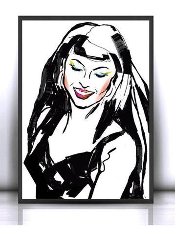 Pop Art Plakat Czarno Biały Plakat Dziewczynanowoczesny