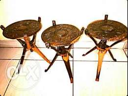 3 hand carved wood tripod side tables