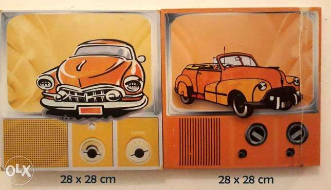 2 Classic Cars Set of Printed Wall Painting - Size 28 x 28
