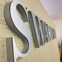 silver 3D sign