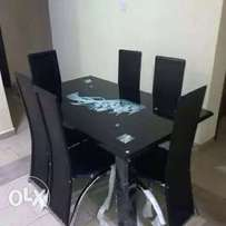 High class glass dining table with chairs