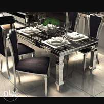 High quality marble dining table set by 6seaters