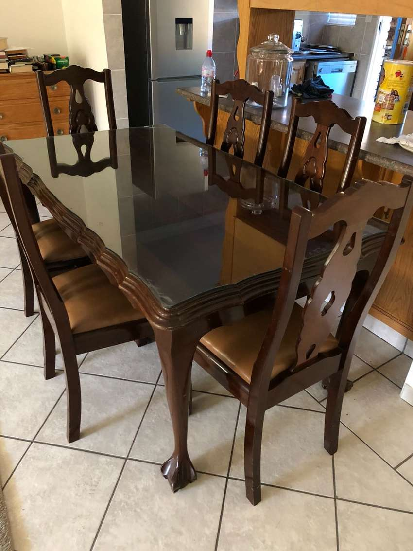Antique Ball And Claw Dining Table With Six Chairs Solid