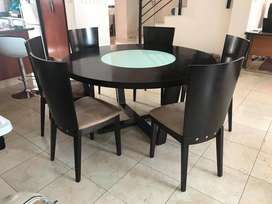 Lazy Susan Dining Room Table And 6 Chairs