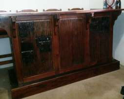 Sleeper wood bar counter and chairs