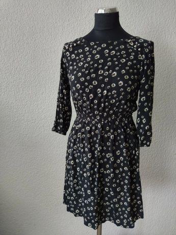 C&A czarna sukienka w rumianki stokrotki kwiaty kwiatki S 36