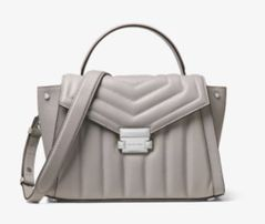 c7dc0505e47ec Michael kors Whitney pearl grey Medium quilted leather 1489 pinko