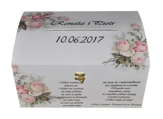 Wspaniały Drewniane pudełko na telegramy ślubne, koperty, wesele Wołowice EG07