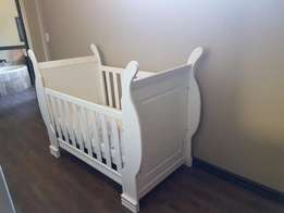 White Sleigh Baby cot- looks brand new REDUCED AND MUST GO!!!