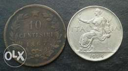 Italy 1867 and 1924 coin set