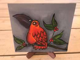 Colourful bird painting on easel - 20 x 18 cm