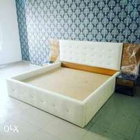 White upholstery bed