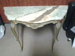 Marble top half wallside table with brass legs