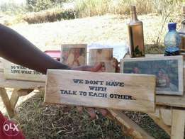 Customized message on wood.