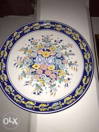 limoges and delft big decorative dishes signed