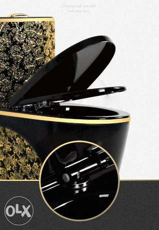 Luxury black toilet desigh model with gold flowers الرياض -  6