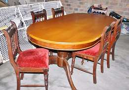 Yellow Wood and Embuia 6 seater Oval Dining Table